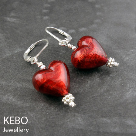 Heart of Murano Earrings - Deep Red